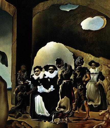 Le marché d' esclaves avec apparition du buste invisible de Voltaire ( détail) - S. Dali